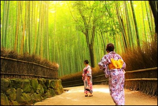 京都嵐山を着物で歩く女性二人組の画像