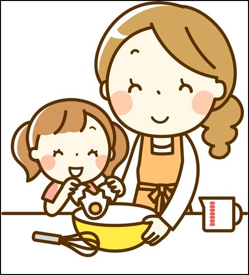 イラスト お母さんと料理をする画像