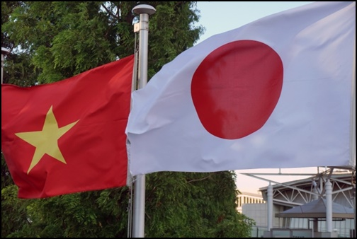 ベトナムと日本の国旗の画像