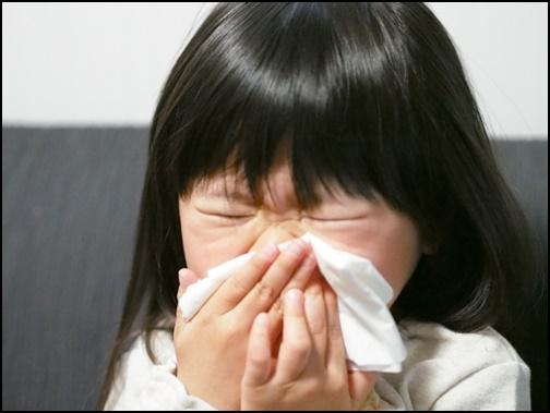 くしゃみをする女の子の画像