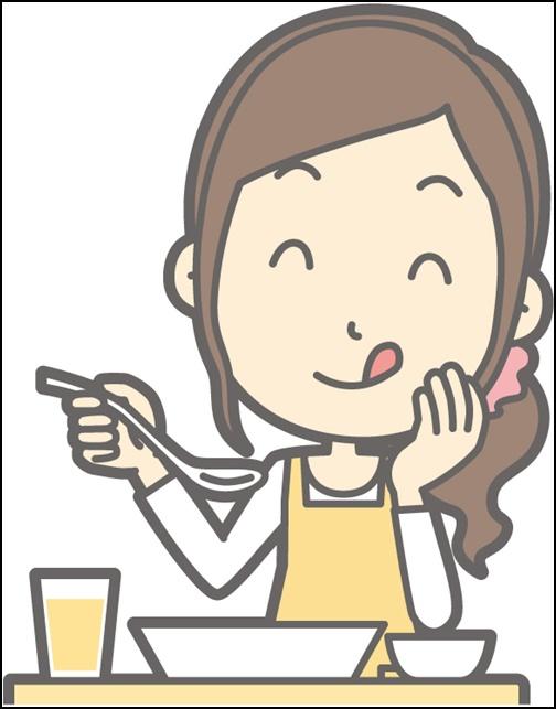 イラスト お母さんが食事をする画像