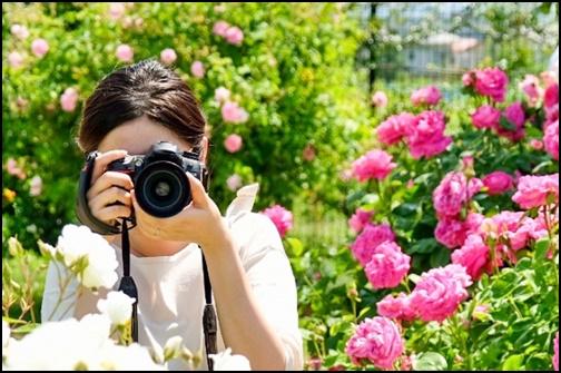 カメラ撮影する女性の画像