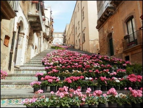 花の階段の画像