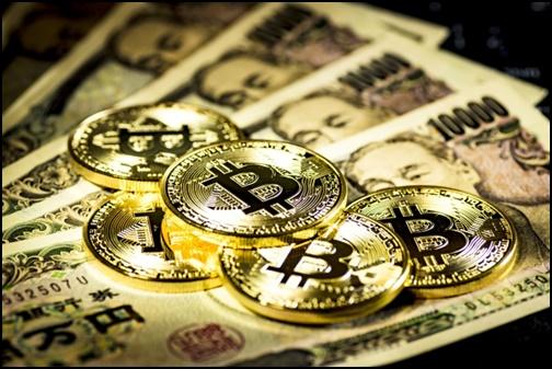 一万円札とビットコインの画像