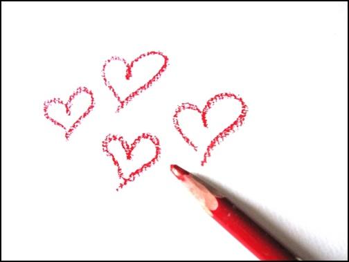 ハートをノートに書いた画像