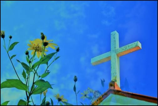 花と十字架の画像