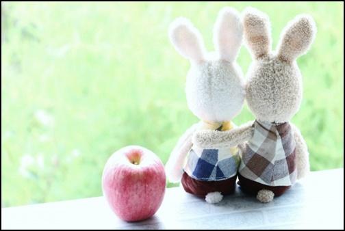 仲良しのウサギの人形の画像