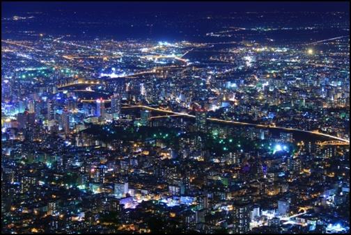 藻岩山から見た札幌の夜景の画像