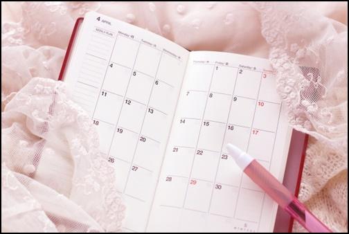 手帳のカレンダーの画像