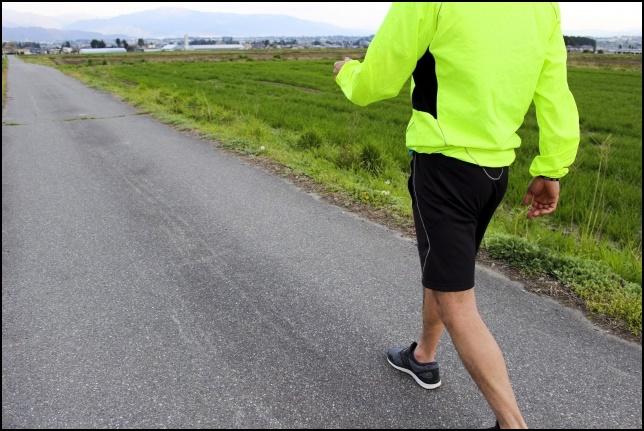 ウィンドブレーカーを着て散歩する男性の画像