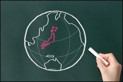 地球の中の日本地図の画像