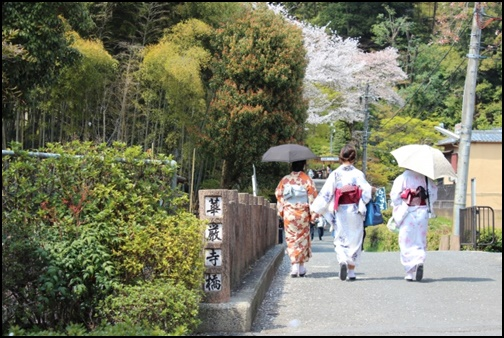 京都を着物で歩く女性の画像