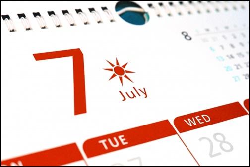 7月のカレンダーの画像
