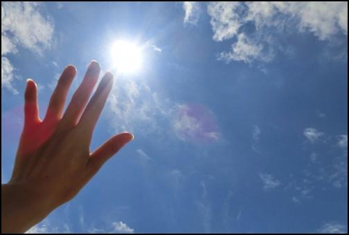 太陽の陽射しを手で遮る画像