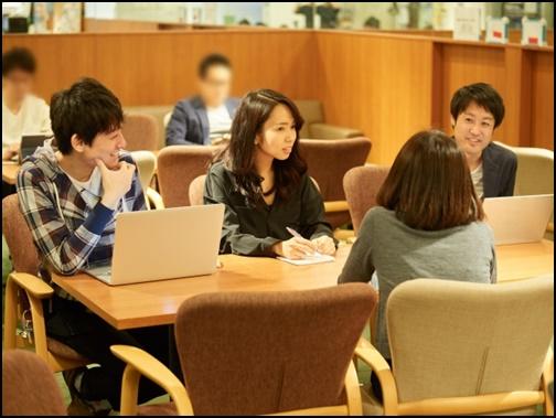 大学生が勉強会を開いている画像