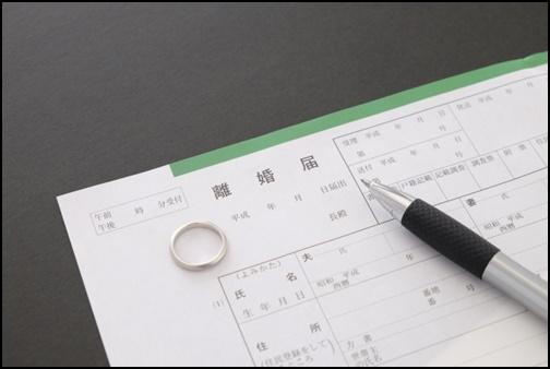離婚用紙と結婚指輪の画像