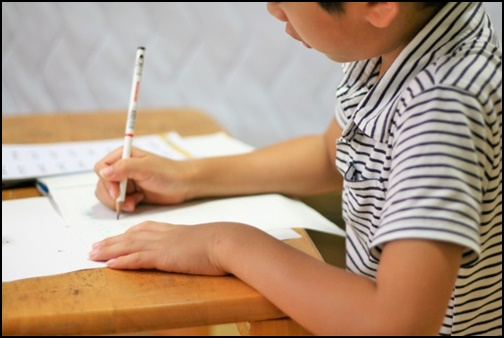 勉強する小学生の画像
