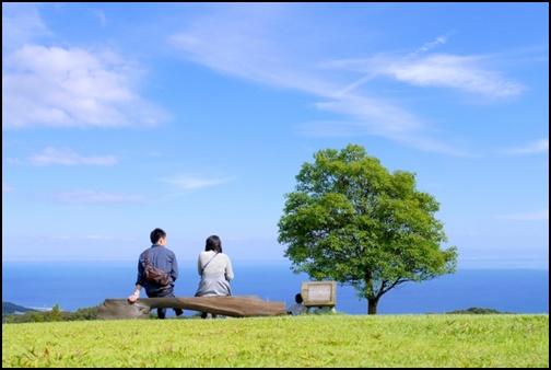 公園で会話するカップル画像