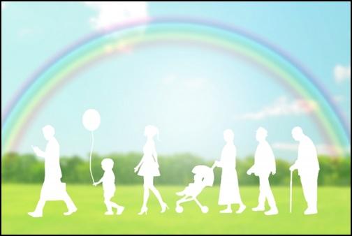 虹と理想の家族と人生の画像