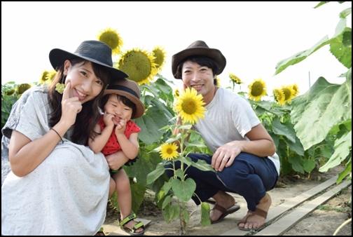 向日葵と笑顔の親子の画像