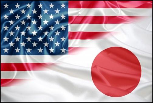 アメリカと日本の国旗の画像