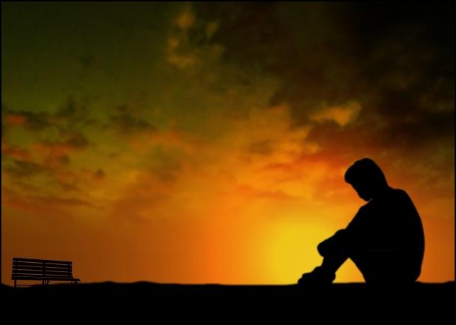 孤独な男性の画像