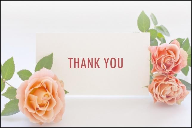ありがとうとピンクのバラの画像