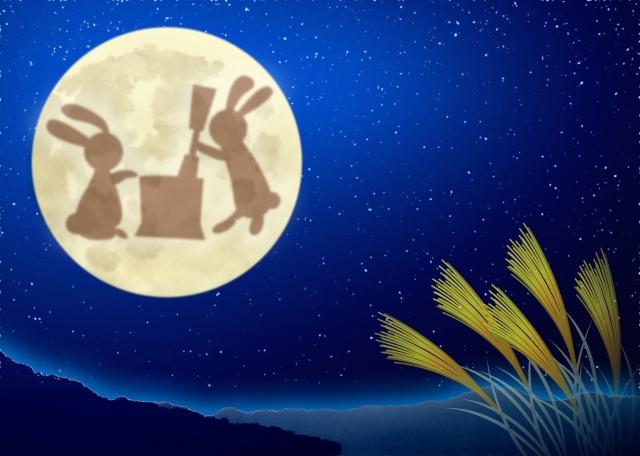 お月見をしているウサギの画像