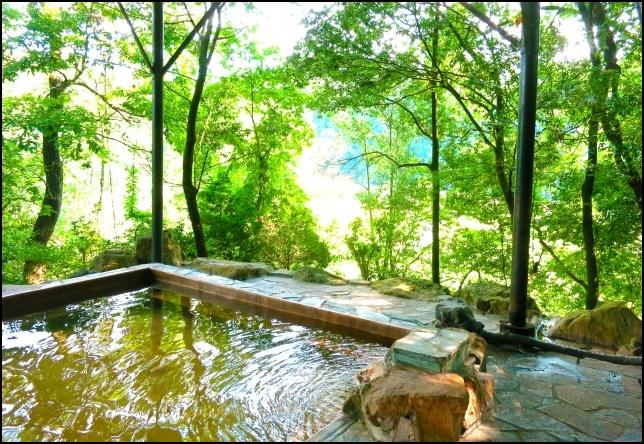 森林浴をしながらの露天風呂の画像