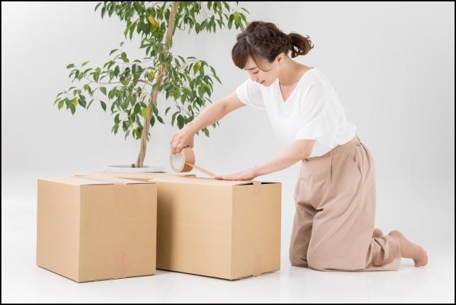 段ボールを梱包している女性の画像