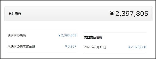 2020年3月26日 239万の売り上げ画像 ブログにアップ用